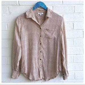 Madewell Silk Boyshirt in Checkbox Pattern